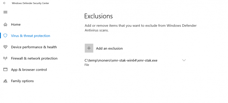xmr-stak.exe windows defender exclusion
