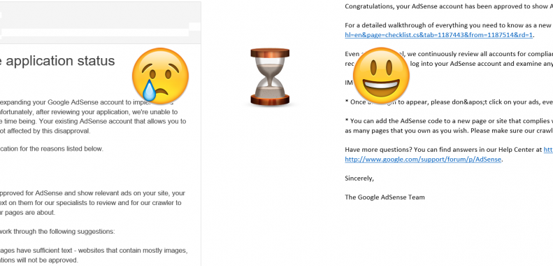 adsense account rejection and approval