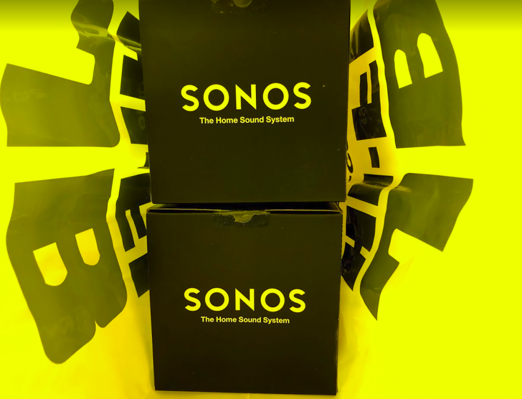 2 sonos one speakers in a jb-hifi bag