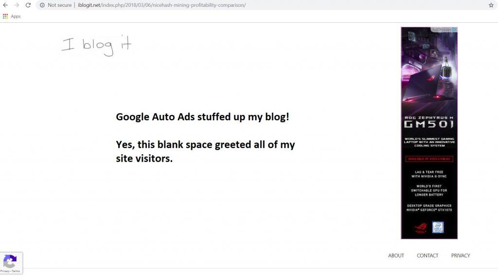 Google auto ads don't do it